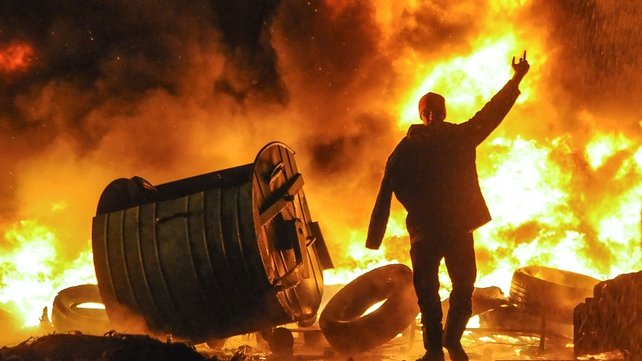 Violent protests have been raging in the Ukrainian capital (Pic: EPA)