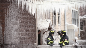 Firefighters brave sub-zero temperatures to battle an apartment fire in Cicero, Illinois