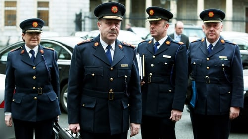 Garda Commissioner Martin Callinan (second left) announced his resignation earlier today