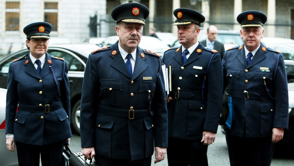 Garda Commissioner Martin Callinan (second left) with Deputy Commissioner Noirin O'Sullivan (left) and Assistant Commissioner John Twomey (second right) arrive at Leinster House