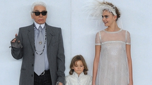 Karl Lagerfeld, Hudson Kroenig and Cara Delevinge closing the Chanel Spring/Summer '14 Couture Show