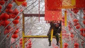 A Chinese worker hangs a lantern for the upcoming Lunar New Year at a park in Beijing