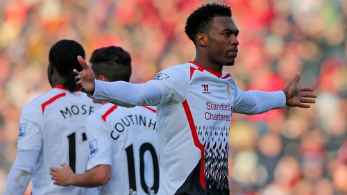 Daniel Sturridge of Liverpool celebrates scoring their second goal