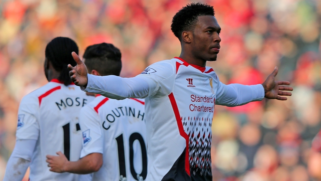 Daniel Sturridge of Liverpool celebrates scoring their second goal