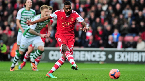 Southampton's Guly Do Prado scores from the penalty spot
