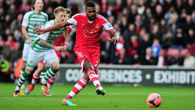 Southampton's Guly Do Prado scores from the penalty spot