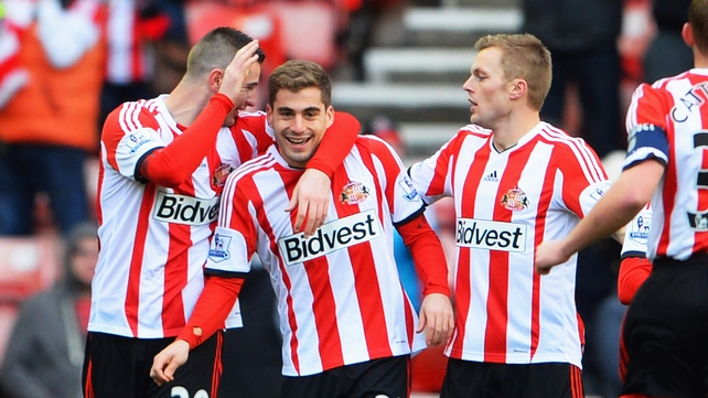 Sunderland's Charis Mavrias (centre) celebrates after his early goal