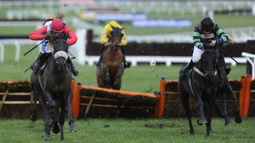 Cheltenham standing dish Knockara Beau (right)scored a first win in his 16th race at Prestbury Park