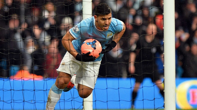 Sergio Aguero wastes no time after scoring for Manchester City