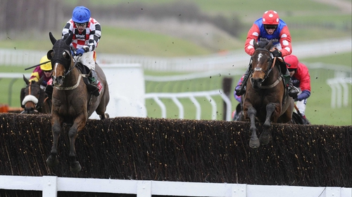 The Giant Bolster clears the last just ahead of Rocky Creek in the Argento Chase