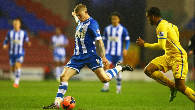 James McClean unleashes his winning strike at the DW Stadium