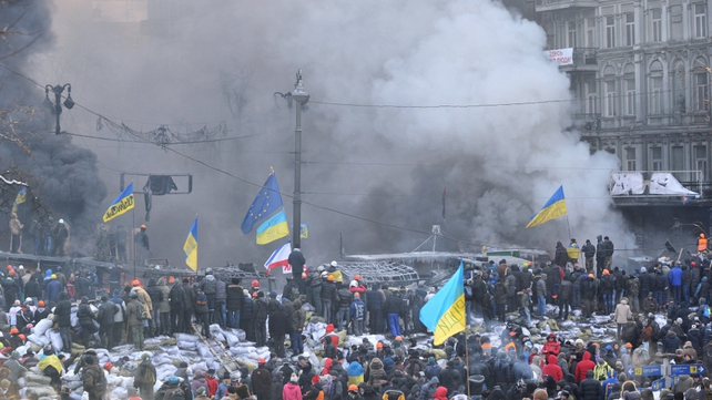 Flashpoint of protests, Grushevsky Street in central Kiev