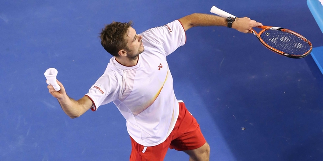 Stanislas Wawrinka celebrates after sealing victory at Rod Laver Arena