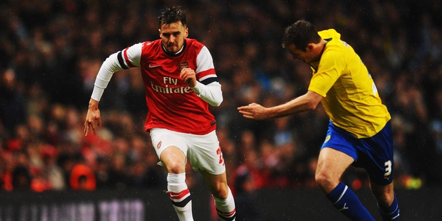 Carl Jenkinson in action in Arsenal's FA Cup Fourth Round clash with Coventry