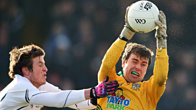 Kildare's Paddy Brophy and goalkeeper Conor McHugh of Meath in today's O'Byrne Cup final