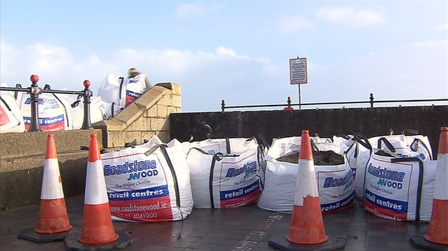 Sandbags have been put in place in exposed areas