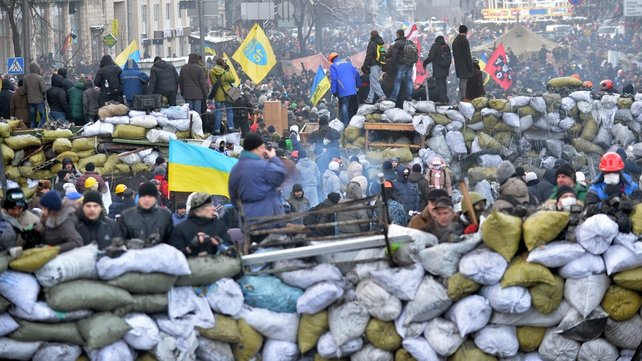 Protesters have used sandbags filled with snow and ice to build barricades