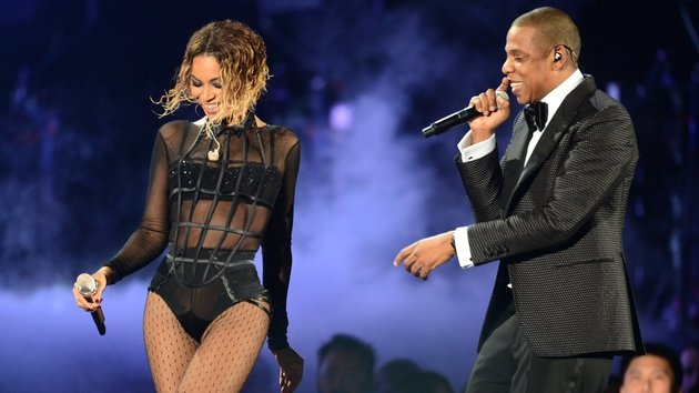 The singer on stage with hubby Jay Z at the Grammy Awards