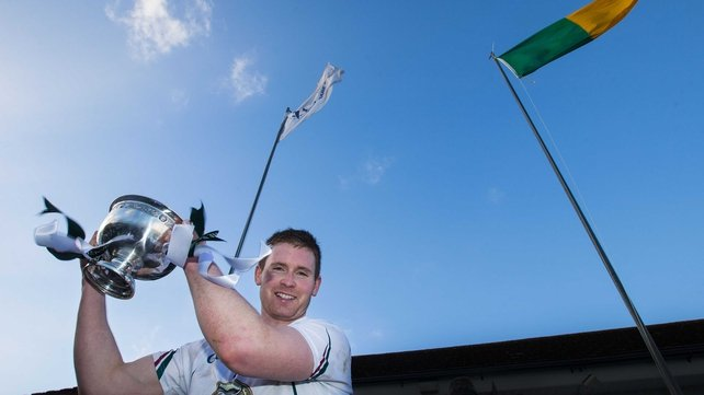 Kildare's Eoghan O'Flaherty lifts the O'Byrne Cup