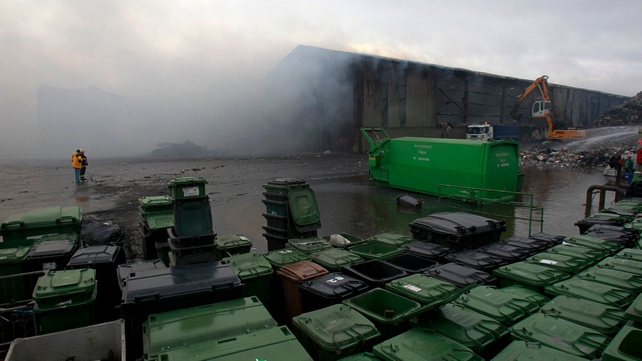 A fire at the neighbouring Oxigen recycling plant forced the evacuation of the An Post depot