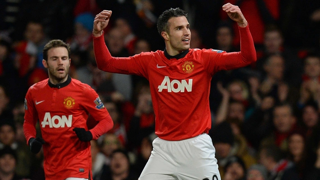 Robin van Persie celebrates his early strike as new boy Juan Mata made his debut for United
