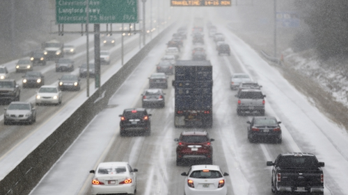 Motorists in Atlanta, Georgia faced difficult conditions on their morning commute (Pic: EPA)