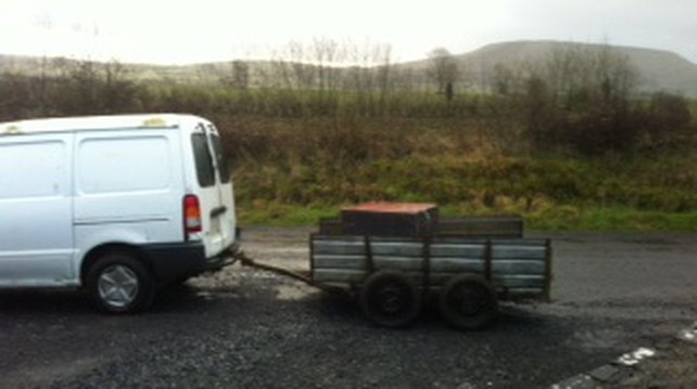 The ATM was found abandoned with a van and trailer about 15km from the scene