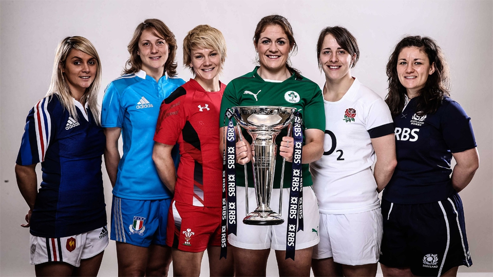 RBS Women's 6 Nations Rugby Championship captains Marie Alice Yahe of France, Silvia Gaudino of Italy, Philippa Tuttiett of Wales, Fiona Coghlan of Ireland, Katy McLean of England and Tracy Balmer of Scotland