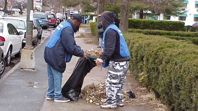 Street cleaning takes place in the US as part of the community courts system