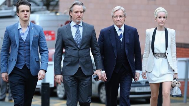 William Roache arriving at court with his family (L-R) James, Linus and Verity