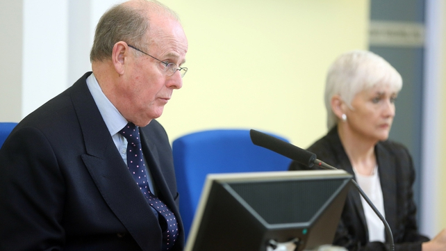 Sir Anthony Hart with Panel member Geraldine Doherty at the Historical Institutional Abuse Inquiry