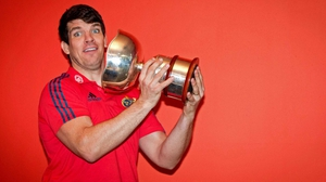 Munster's Donncha O'Callaghan with the Munster Junior Schools Cup