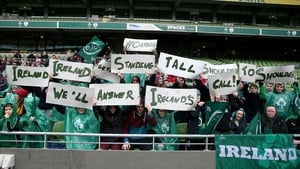 Ireland rugby fans at their team's open training session at the Aviva Stadium