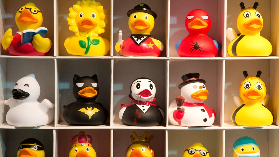 Plastic bath ducks at the Nuremberg International Toy Fair in Germany, the world's biggest trade fair for toys