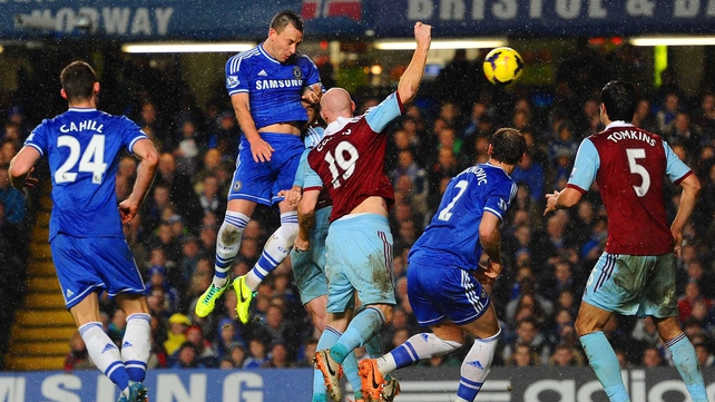 John Terry failed to break the deadlock with this headed effort