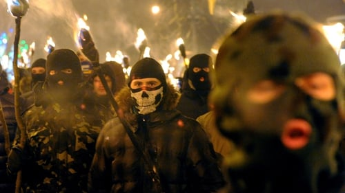 600 nationalists carry torches in the western Ukrainian city of Lviv