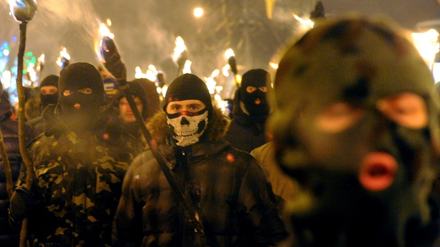 Some 600 nationalists carry torches in the western Ukraine city of Lviv