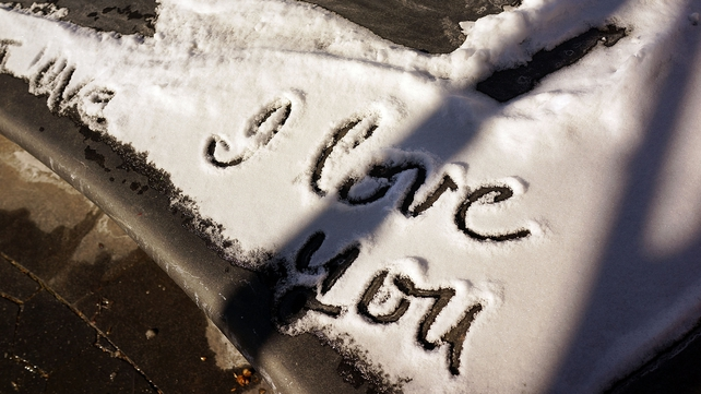 A message is left in the snow in a park in New York City