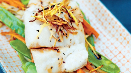 Soy Steamed Cod and Crisp Gingered Vegetables