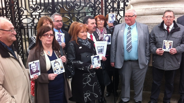 The families, pictured outside Governent Buildings, have taken their campaign for an independent investigation to Europe