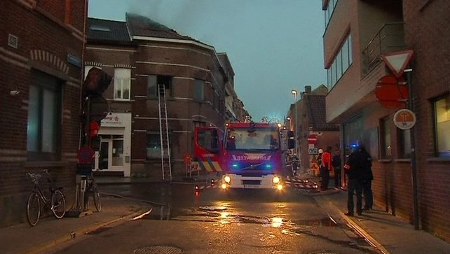 Fire services at the scene in the Belgian city of Leuven