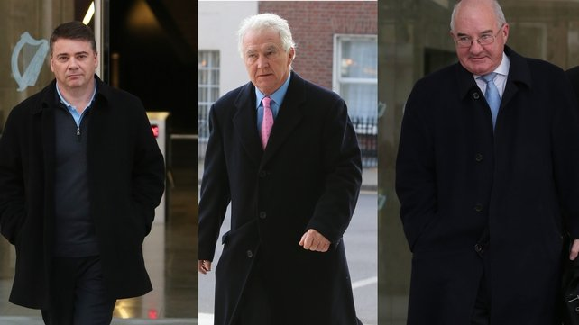 Pat Whelan (L), Seán FitzPatrick (C) and William McAteer (R) have pleaded not guilty to the charges