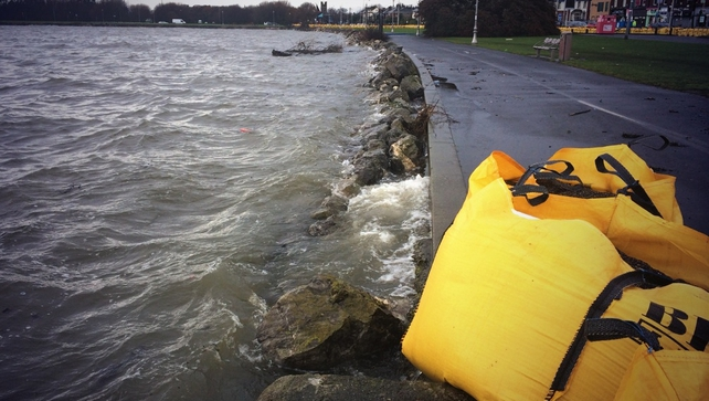 Flood defences in Clontarf in Dublin following severe weather warnings