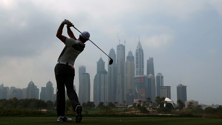 Golfer Rory McIlroy plays in the Omega Dubai Desert Classic in the United Arab Emirates