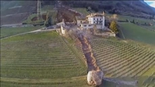 Boulder destroys 300-year-old barn in Italy (Credit: Newsflare.com)
