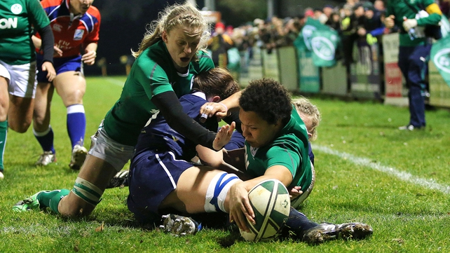 Sophie Spence with the first of her three tries in Ireland Women's 59-0 rout of Scotland