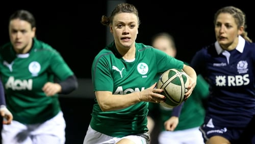 Lynne Cantwell in action for Ireland at Ashbourne tonight