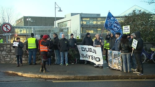 Protesters at the RTÉ gates on 31 January