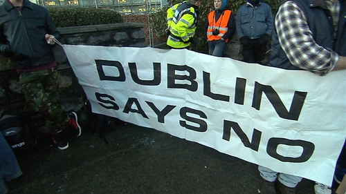A group calling itself Dublin Says No protested outside RTÉ