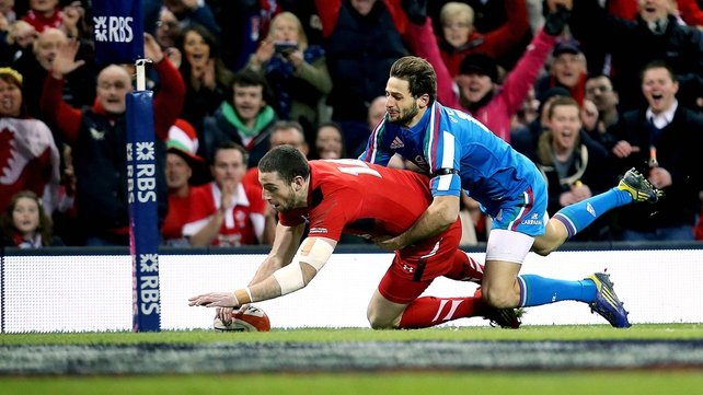 Alex Cuthbert opens the scoring with a try for Wales against Italy in the Millennium Stadium